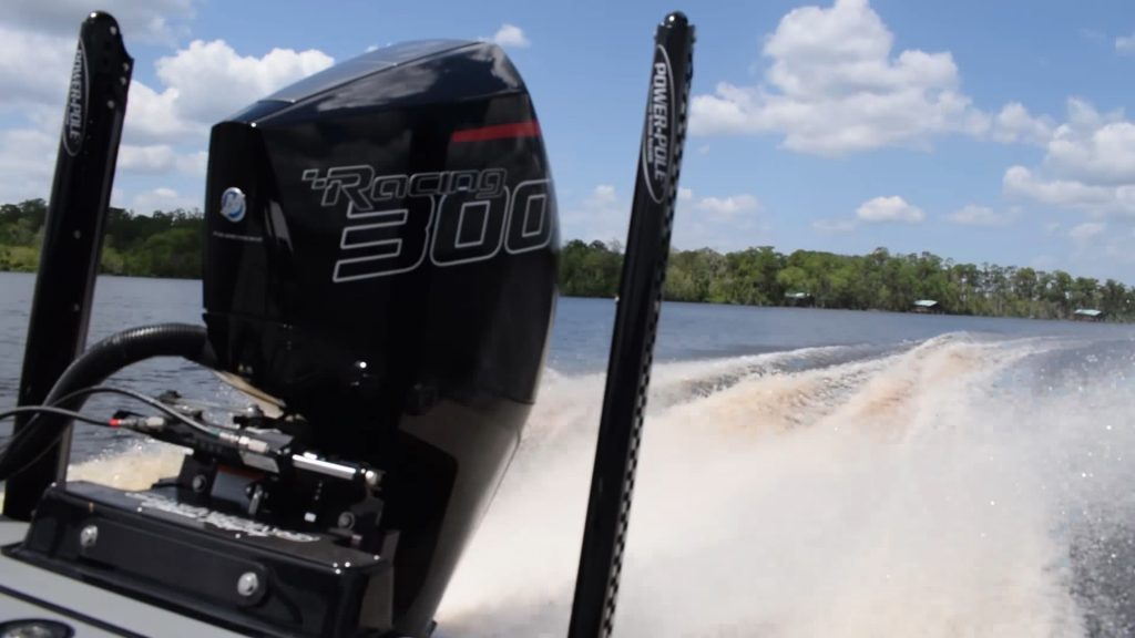 Mercury outboard motor running on a boat