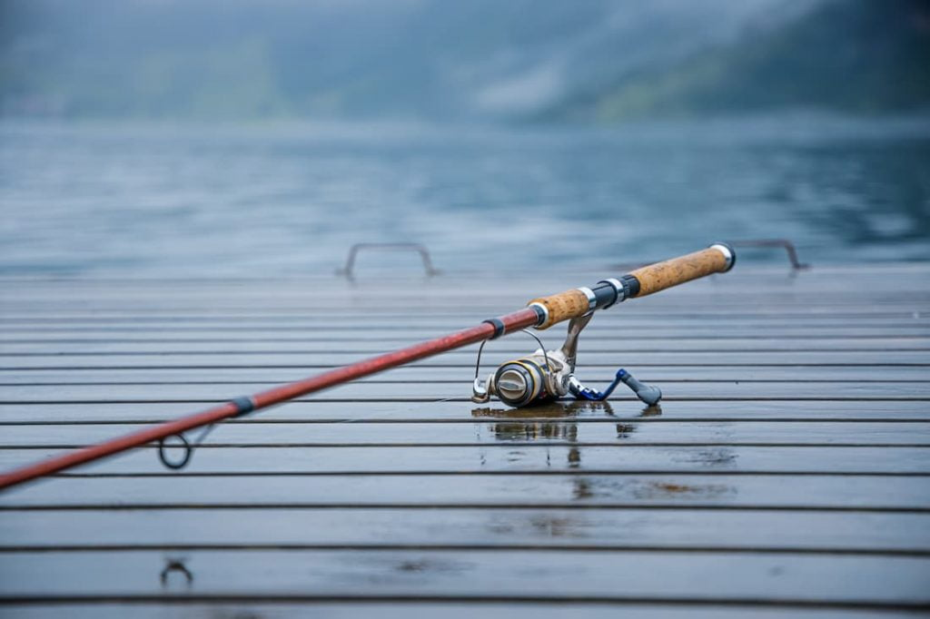 Fishing rod laying on a deck