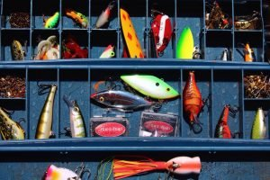 Tackle box full of bass lures